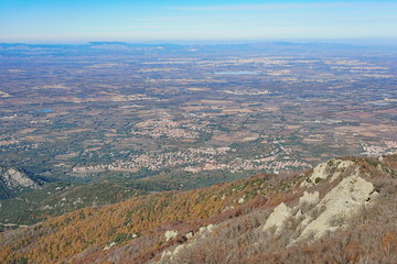 The Roussillon plain in the south of France, Pyrenees Orientales, landscape from the heights of the massif des Alberes