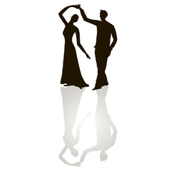 Black silhouette figures of dancing man and woman on white, grey shadow, tango dancing, stock vector illustration