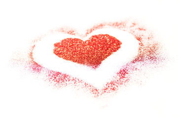 Red glitter heart on a white background for Valentines Day