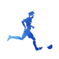 Running soccer player with ball, abstract blue geometric vector silhouette