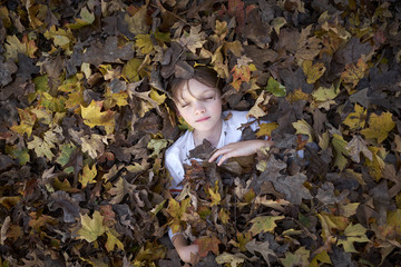 Boy Laying in Pile of Leaves
