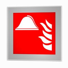 Brandschutzzeichen nach der aktuellen Form der ASR A1.3: Mittel und Geräte zur Brandbekämpfung, im Glasrahmen. 3d render