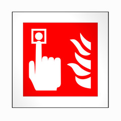 Brandschutzzeichen nach der aktuellen Form der ASR A1.3: Brandmelder. 2d render