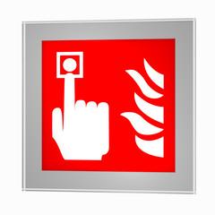 Brandschutzzeichen nach der aktuellen Form der ASR A1.3: Brandmelder, im Glasrahmen. 3d render