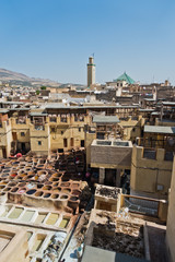 Oldest tannery at Medina of Fes, Morocco, Africa
