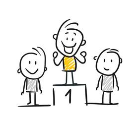 Strichfiguren / Strichmännchen: Erster, Podium, Gewinner. (Nr. 172)