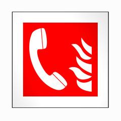 Brandschutzzeichen nach der aktuellen Form der ASR A1.3: Brandmeldetelefon. 2d render