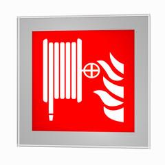 Brandschutzzeichen nach der aktuellen Form der ASR A1.3: Löschschlauch, im Glasrahmen. 3d render