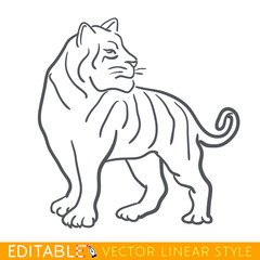 Tiger zodiac sign. Tiger Chinese year. Calendar 2022. Editable line sketch icon. Stock vector illustration.