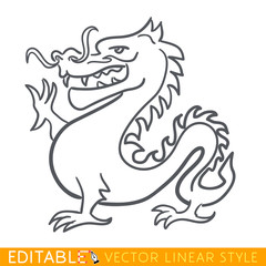 Dragon zodiac sign. Dragon Chinese year. Calendar 2024. Editable line sketch icon. Stock vector illustration.