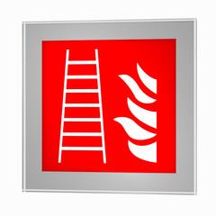 Brandschutzzeichen nach der aktuellen Form der ASR A1.3: Feuerleiter, im Glasrahmen. 3d render