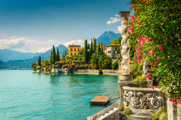 Wall Mural - Oleander flowers and villa Monastero in background, lake Como, Varenna