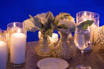 candlelight dinner white rose flower