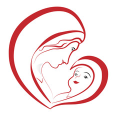 Virgin Mary and baby Jesus, vector drawing