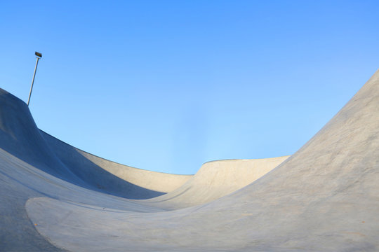 generic skatepark ramps low view to show scale