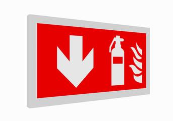 Brandschutzzeichen nach der aktuellen Form der ASR A1.3: Feuerlöscher unten. 3d render