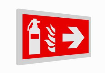 Brandschutzzeichen nach der aktuellen Form der ASR A1.3: Feuerlöscher rechts. 3d render