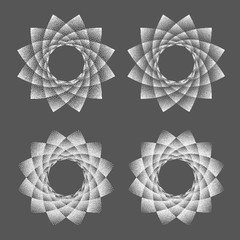 Abstract dot symbol sacred geometry phyllotaxis. Isolated halftone symbol. Opposite spirals vector illustration EPS 10