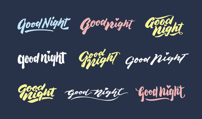 """good night"" vintage hand lettering typography greeting phrases design"