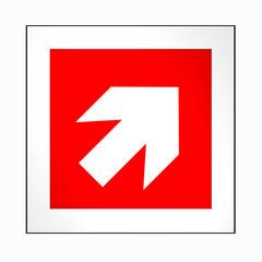 Brandschutzzeichen nach der aktuellen Form der ASR A1.3: Richtungspfeil, rechts oben. 2d render