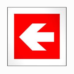 Brandschutzzeichen nach der aktuellen Form der ASR A1.3: Richtungspfeil, links. 2d render