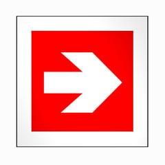 Brandschutzzeichen nach der aktuellen Form der ASR A1.3: Richtungspfeil, rechts. 2d render