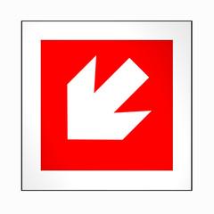 Brandschutzzeichen nach der aktuellen Form der ASR A1.3: Richtungspfeil, links unten. 2d render