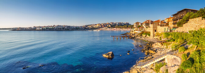 Foto auf Acrylglas Stadt am Wasser Coastal landscape banner, panorama - embankment with fortress wall in the city of Sozopol on the Black Sea coast in Bulgaria