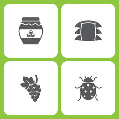 Vector Illustration Set Of Simple Farm and Garden Icons. Elements honey, sack, Grape, Ladybug
