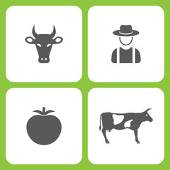 Vector Illustration Set Of Simple Farm and Garden Icons. Elements Cow, Farmer, Tomato,