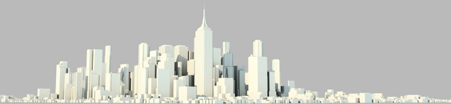 3d rendering of a white city on a bright background