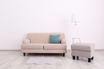 Living room interior with comfortable couch