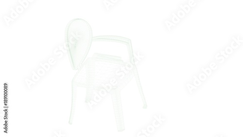 3d rendering of a blueprint chair isolated on white