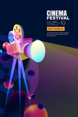 Vector film and movie concept. Neon glowing cinema festival poster or banner layout. 3d style abstract movie camera with film spotlight. Sale cinema theatre tickets and entertainment illustration.
