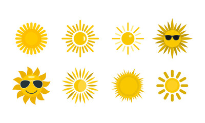 Sun icon set, flat style