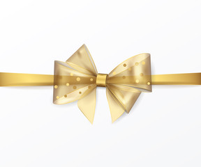 Elegant shiny golden ribbon and bow. Vector realistic element for your design of gift cards or invitations. Isolated from the background.