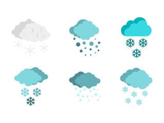 Snow cloud icon set, flat style