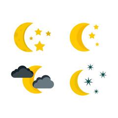 Moon icon set, flat style