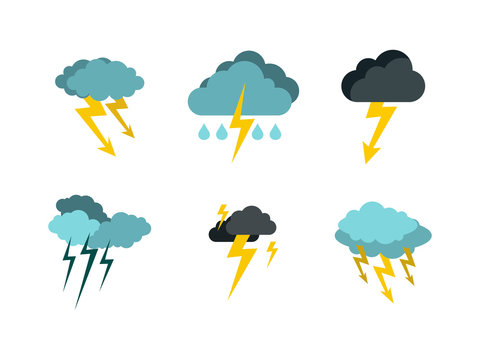 Storm cloud bolt icon set, flat style