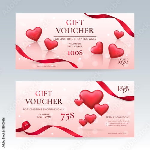 Vector set of elegant gift vouchers for valentines day celebration vector set of elegant gift vouchers for valentines day celebration with red glossy hearts and ribbons negle Gallery