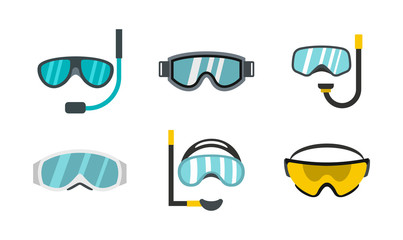 Sport glasses icon set, flat style
