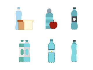Water bottle icon set, flat style