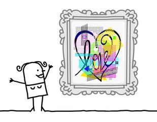 Cartoon Woman Watching a Pop Art Style Heart