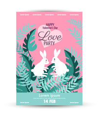 Valentine's Day  poster template. .Cute rabbit couple together in the jungle background Design base on A3 size. vector illustration