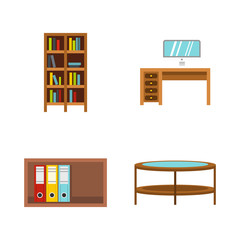 Furniture icon set, flat style