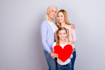 Emotion expression beauty warmth event concept. Lovely cure sweet charming granny mum preteen kid standing together showing their feeling and love isolated on gray background copy-space