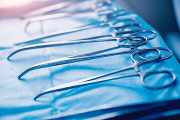 Surgical equipment and medical devices in operating room.