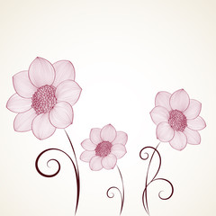 Hand drawing cute abstract floral background. Vector flower dahlia. Element for design.
