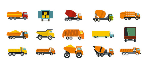 Truck icon set, flat style