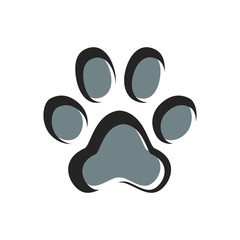 Paw Prints. Logo. Vector Illustration. Isolated vector Illustration. Black and grey on White background. Animal foot print